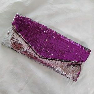 Handbags - Silver Fuschia Sequins Reversible Clutch